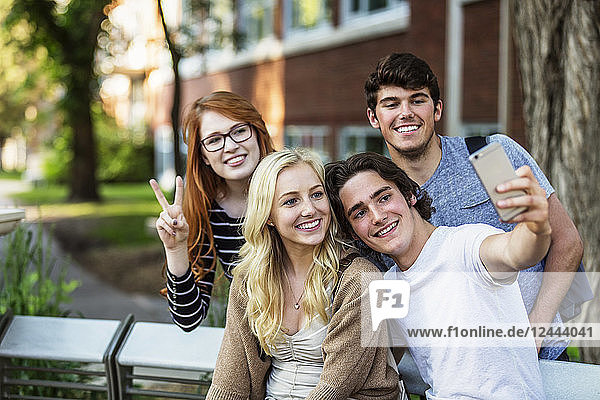 A group of four friends sitting on a bench taking a self-portrait with a smart phone on a university campus  Edmonton  Alberta  Canada