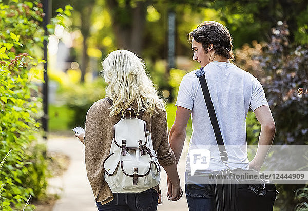A young couple walking down a path on the university campus holding hands and the woman is checking her smart phone for messages  Edmonton  Alberta  Canada