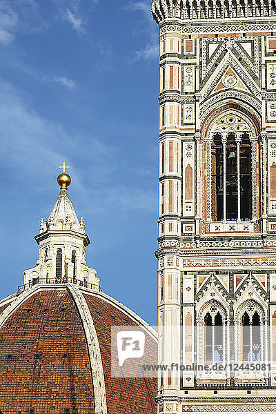 Brunelleschi's Dome and Giotto's Campanile in the Piazza del Duomo  Florence  Tuscany  Italy