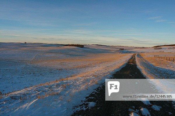 Wide open landscape in winter with road. Near Bearspaw northwest of Calgary  Alberta  Canada.