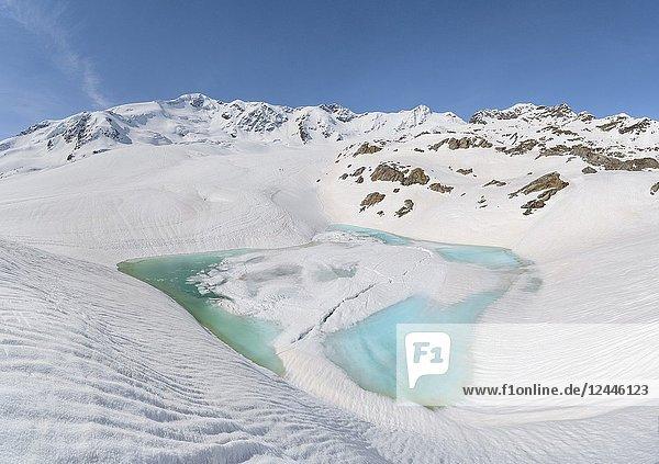 Glacial lake in Forni glacier. Santa Caterina Valfurva  SOndrio district  Lombardy  Italy  Europe.