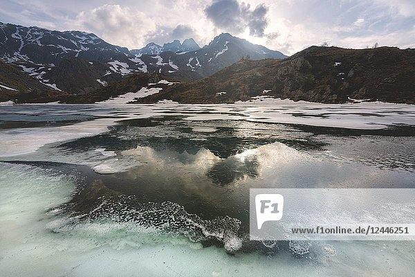 Seroti lake at thaw in Stelvio national park  Lombardy district  Brescia province Italy.