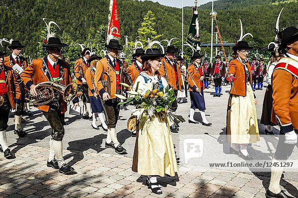 Local band members march out of the village square on Patronage day in Reith bei Seefeld  Austria.