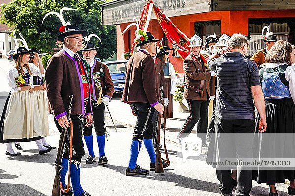 Men of the Tyrolean Militia on Patronage day in Reith bei Seefeld  Austria.