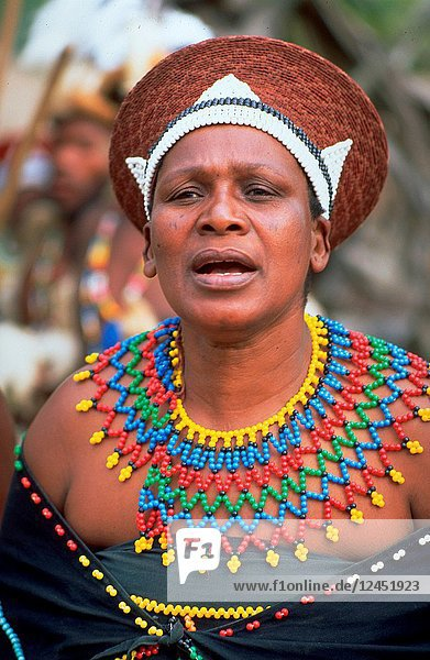 South Africa: Zulu-women dancing and showing their cultural traditions.