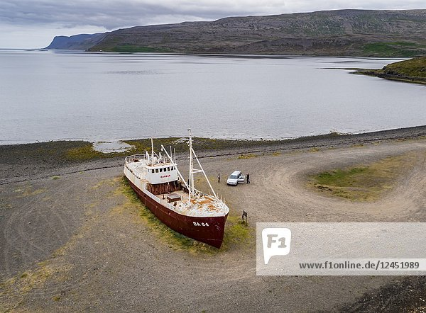 Stranded Fishing Trawler  Patreksfjordur  West Fjords  Iceland. This image is shot using a drone.