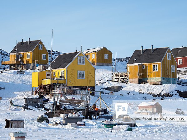 The fishing village Ikerasak during winter in the Uummannaq fjordsystem north of the polar circle. America  North America  Greenland  Denmark.