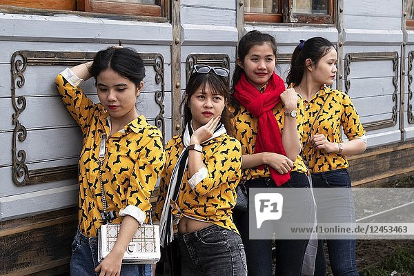 Models shots at the building of the old railway station  Dalat  Central Highlands  Vietnam  Asia