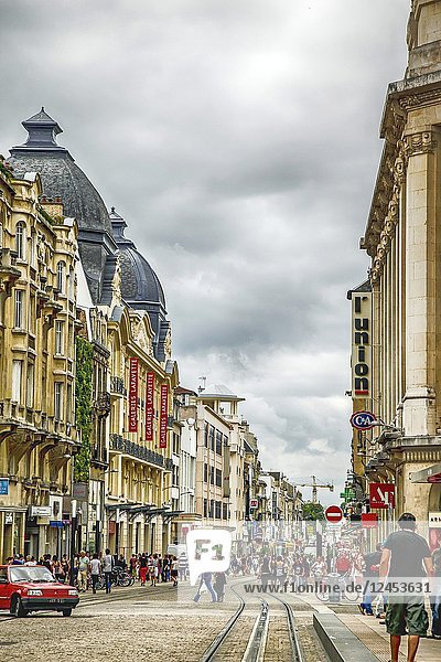 People in the heart of the city on the Rue de Vesle in Reims  France.