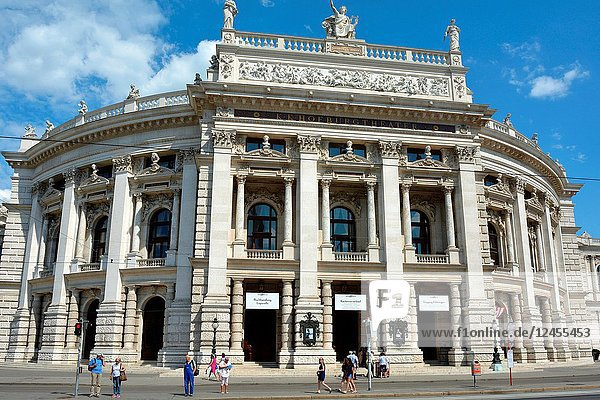 The Burgtheater at the Ringstrasse in Vienna with main entrance is the Austrian National Theatre - Austria.