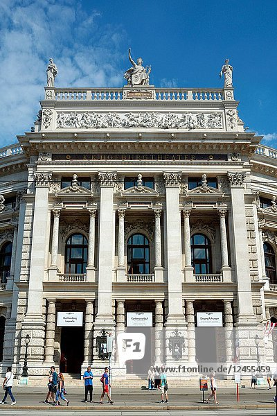 Vienna  Austria - June 18  2018: The Burgtheater at the Ringstrasse in Vienna with main entrance is the Austrian National Theatre - Austria.