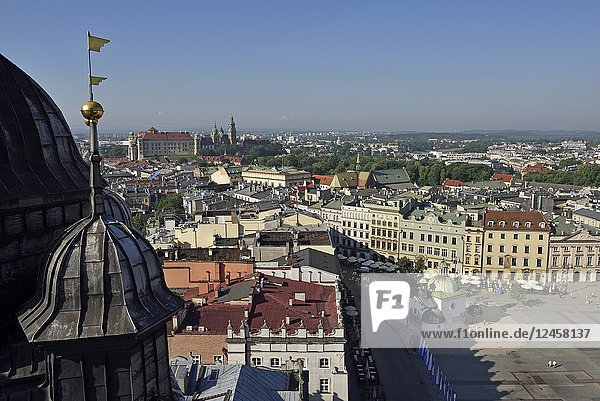 View toward the Wawel Castle from the highest tower of the St. Mary's Basilica  Rynek Glowny  the main square of the Old Town of Krakow  Malopolska Province (Lesser Poland)  Poland  Central Europe.