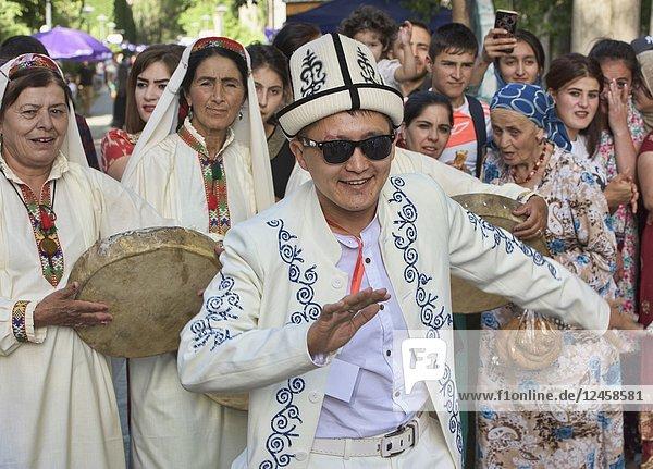 Hip Kyrgyz guy dancing at the Roof of the World Festival,  Khorog,  Tajikistan.