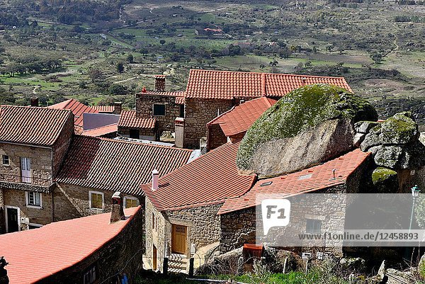 View of the rocks and rooves of Monsanto  Castelo Branco  Portugal