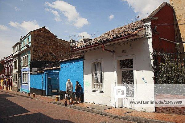 Street scene from the historic center La Candelaria  Bogota  Cundinamarca  Colombia  South America