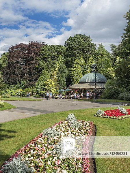 The Magnesia Well Cafe in Valley Gardens in Summer Harrogate North Yorkshire England.