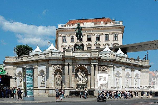 Albertina Museum for Graphic Art in Vienna with Equestrian statue of Archduke Albrecht - Austria.