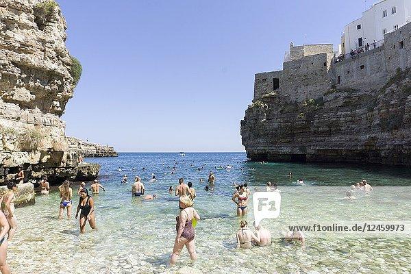 Monachile beach in Polignano a Mare on July 12  2018 in Puglia Italy.