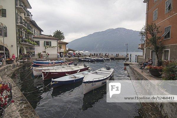 Limone sul Garda town in Lake of Garda Lombardy Italy on April 29  2018