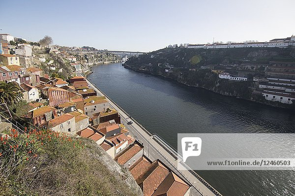 Cityscape in Porto Portugal on January 8  2018. View from the top of the Luis I bridge. Duero river.