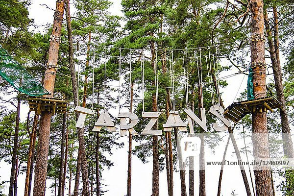 The Tarzan Leap at 'JŠ«rmalas TarzÄ. ns' adventure park - now open in the Dzintari Forest Park  Latvia  Europe. The 'JŠ«rmalas TarzÄ. ns' adventure park has five obstacle tracks designed for active recreation for both adults and children.