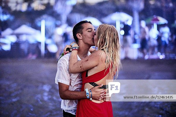 Greece  Crete  Chersonissos  passionate couple kissing at Beach Party