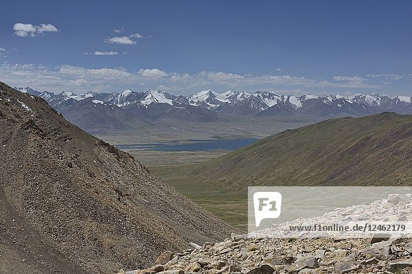 The Great Pamir Range of Afghanistan and Lake Zorkul seen from Belayrik Pass  Tajikistan.