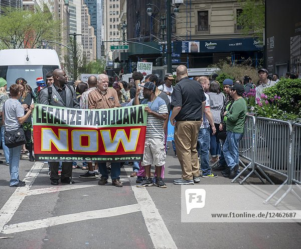 Advocates for the legalization of marijuana march in New York on Saturday  May 5  2018 at the annual NYC Cannabis Parade. The march included a wide range of demographics from millennials to old-time hippies. The participants in the parade are calling for the legalization of marijuana for medical treatment and for recreational uses. (© Richard B. Levine).