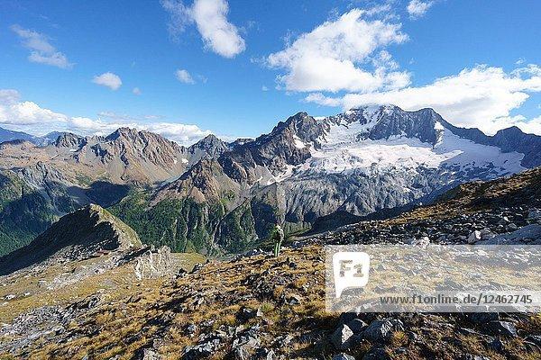 The North Face of Mount Disgrazia seen from Del Grande Camerini Refuge  Chiareggio  Valmalenco  Province of Sondrio  Lombardy  Italy.