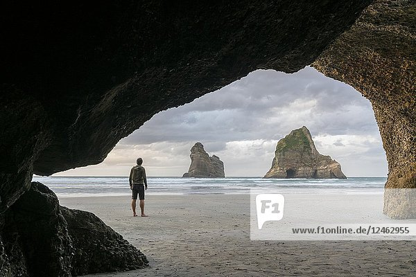 Man staring at two of the Archway Islands. Wharariki beach  Puponga  Tasman district  South Island  New Zealand.
