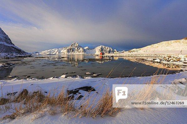Mountains and sea  Vagjebukta  Leknes  Lofoten Islands  Norway.