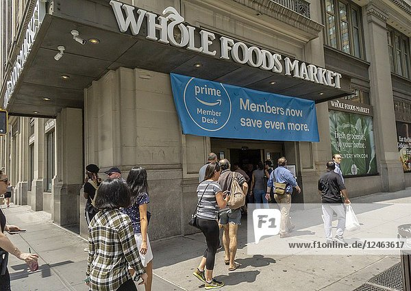 The Whole Foods Market in the Chelsea neighborhood of New York advertises Amazon's offer to Prime members of an extra 10% discount on select sale items within the store  seen on Thursday  June 28  2018. The program rolled out nationally on Wednesday although it was available in select areas starting in May. (© Richard B. Levine).