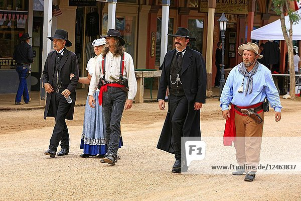 Men dressed as the Earp brothers and Johnny Ringo at the annual Doc Holiday event in Tombstone  Arizona.