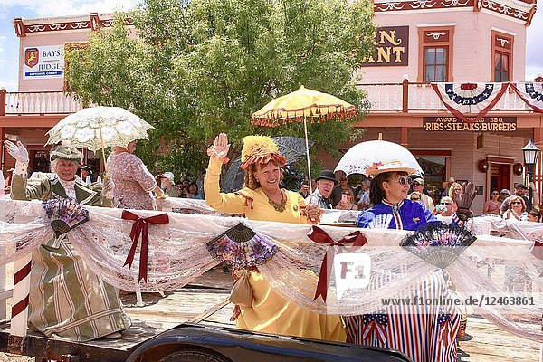 Ladies of society in period costumes take part in the annual Doc Holiday parade in Tombstone  Arizona.