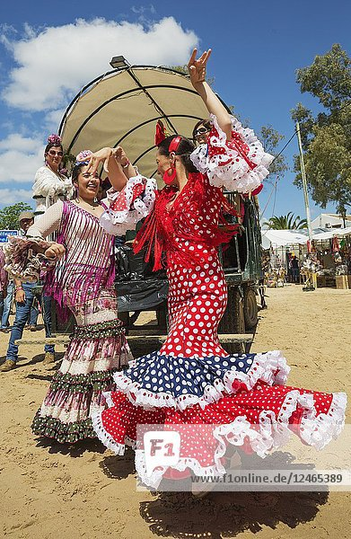 During the annual Pentecost pilgrimage of El Rocio the women wear beautifully coloured gypsy dresses and readily dance the Sevillana. Huelva province  Andalusia  Spain.