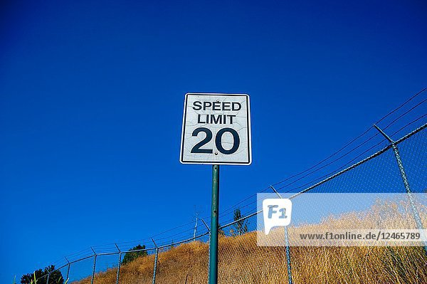 Sign 'Speed Limit 20' at 'Yellowstone National Park' is located in the U. S. states of Wyoming  Montana  and Idaho. This park is the first national park established in America.