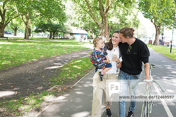 Family spending time together in park