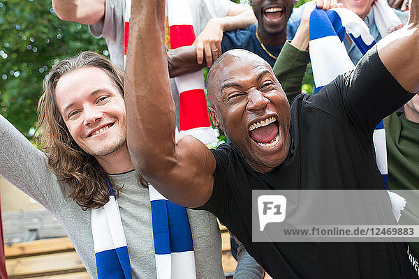 Excited sports fans cheering