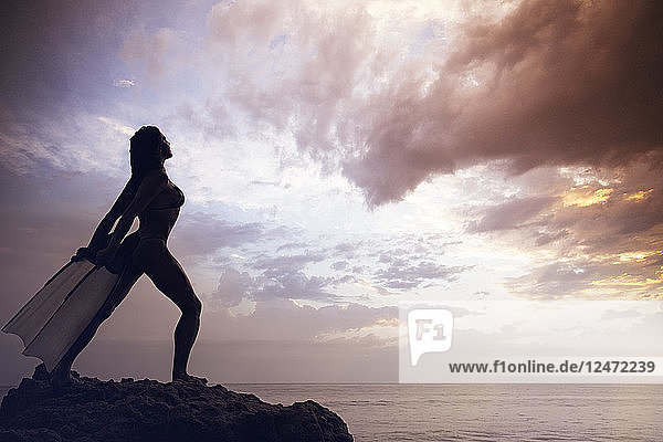 Silhouette of woman with flippers on rocks at beach