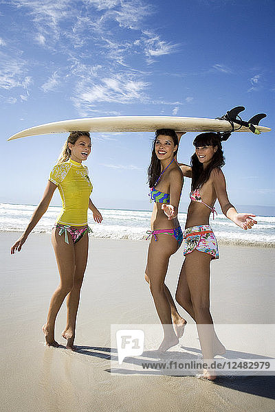 Friends playing with surfboard on beach