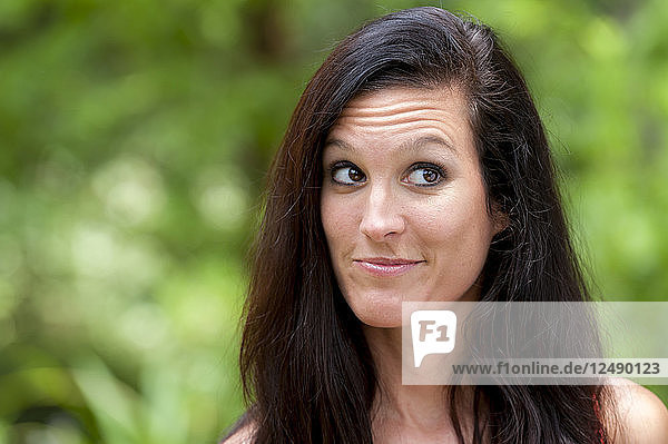 Portrait Of Beautiful Woman Making Faces