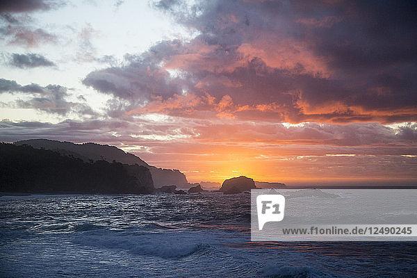 Sunset On The West Coast Of New Zealand
