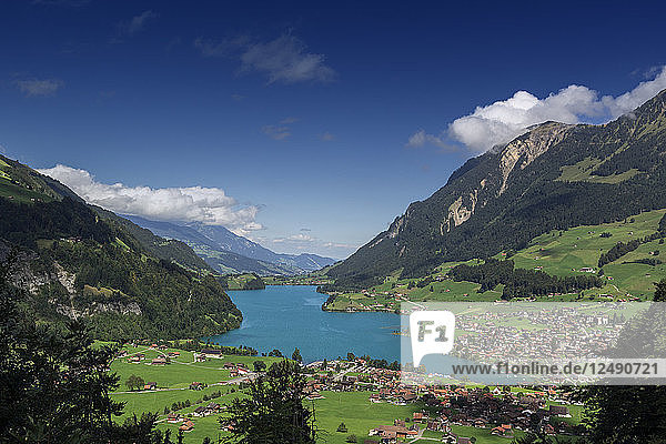 Scenic View Of Lungern And Lungerner Lake In Central Switzerland