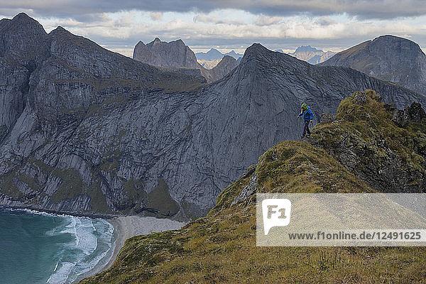 Female hiker walks along narrow ridge near Storskiva mountain peak  Moskenes??y  Lofoten Islands  Norway