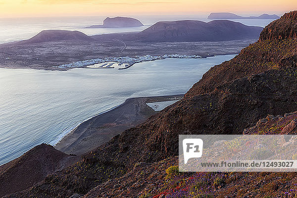 Scenic View Of Lanzarote  La Graciosa  Canary Islands  Spain