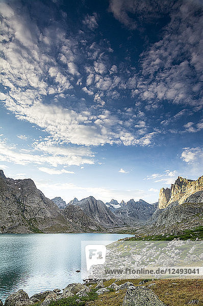 Scenic panorama of the Upper Lake in Titcomb Basin  Wind River Range  Bridger Teton National Forest  Pinedale  Wyoming.