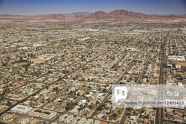 Aerial View Of Homes In The Suburbs Of Las Vegas  Nevada  Usa