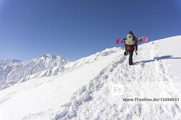 Sandra Hillen Hiking With Snowboard Into The Japanese Backcountry In Hakuba
