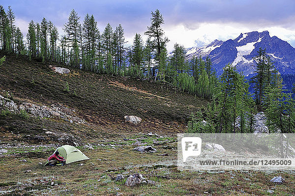 Woman setups camp in a small basin below Mt. Maude and Upper Ice Lake with views of Glacier Peak in the distant on a 14-mile loop in the Glacier Peak Wilderness outside of Leavenworth  Washington September 2011. This 14-mile loop in the Entiat Mountains starts at the Phelps Creek trailhead leads up to Upper Ice Lake via Leroy Creek to the summit of Mt. Maude  9.082-foot  and returns via Carne Mountain Trail.