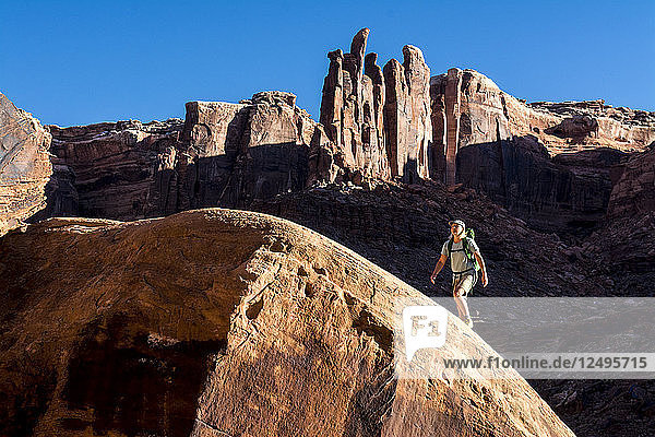 A woman hiking up a sandstone hill below the Witche's Towers along the Labyrinth Canyon section of the Green RIver  Green River  Utah.